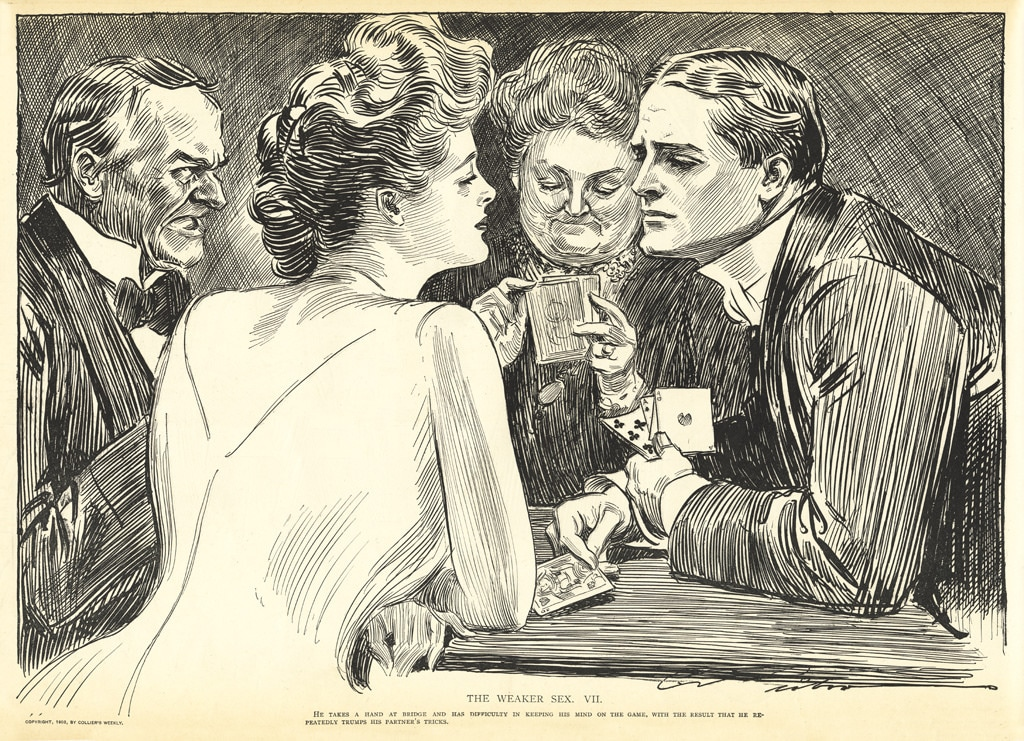 The image of the british nobility playing bridge is used with the permission of Creative Commons licensing, and is courtesy of the MCAD Library. The image was originally created by Charles Dana Gibson in 1903 for Collier's Weekly.